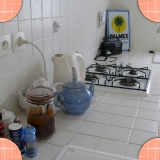 Kitchen of the Dragonfly bed and breakfast in the Pas-de-Calais